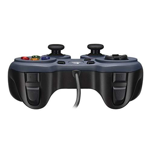 Logitech F310 kabelgebundenes Gamepad, Controller mit Konsolenartigem Layout, 4 Tasten D-Pad, XInput/DirectInput, Komfortable Griffflächen, 1,8 m Kabel, PC/Mac, Blau/Grau - Deutsche Verpackung