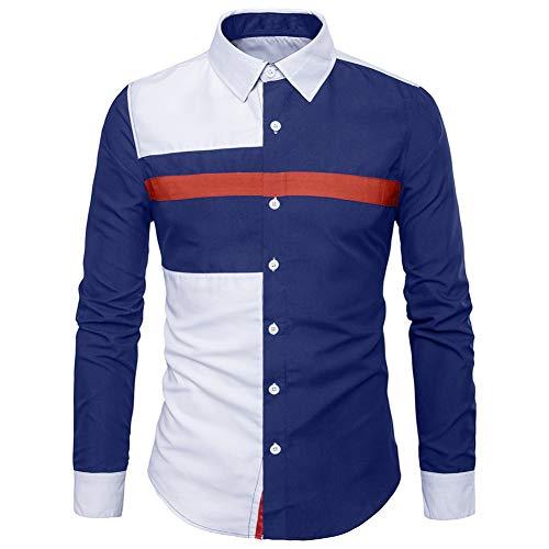 MUMU-001 lente herfst casual shirts draaien onder kraag slim fit mantel blouse pathwork lange mouwen homme hemd plus maat M-2XL Camisa