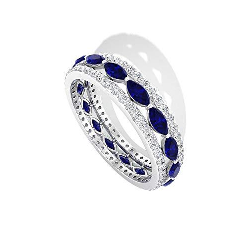 Anillo de diamantes de zafiro azul de 2,08 quilates certificado IGI, gemas azules de eternidad, anillo de canal de diamante de claridad de color HI-SI, 14K Oro blanco, Size:EU 57