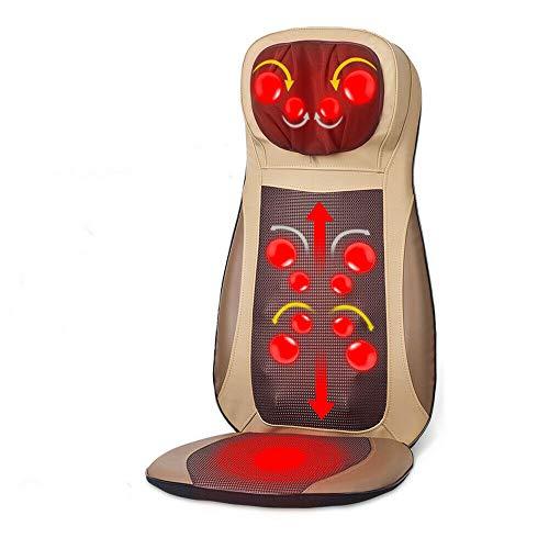 Einstellbar Massagesitzauflage Nacken Zurück Massagegerät 3-Gang Vibrationsmassage Shiatsu-Massage Massageliege mit Wärmefunktion (Beige)