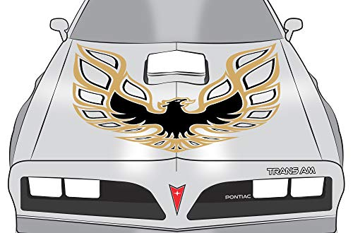 Car-Gear Universal Firebird Hood Graphics Kit 3M Vinyl Decal Wrap Compatible with Pontiac Trans Am - Gold & Black