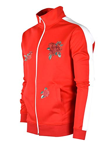 SCREENSHOTBRAND-F11853 Mens Urban Hip Hop Premium Track Jacket - Slim Fit Side Taping Rose Embroidery Fashion Top-Red-2XLarge