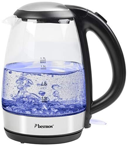 Bestron Glas-Wasserkocher mit LED-Beleuchtung und Kochstopp-Automatik, 1,7 Liter, 2200 Watt, Glas/Edelstahl
