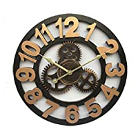 電子目覚まし時計 の手作りの特大3Dレトロアンティークアールデコビッグギア木製ヴィンテージ大壁時計壁に 時計 (Color : Arabic golden, Size : 40cm)