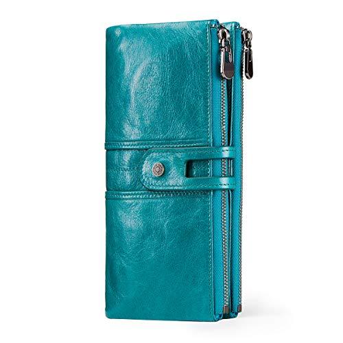 Contacts-Portafoglio donna in pelle RFID con cerniera, portamonete con slot per schede di grande capacità, adatto a tutti (Blu)