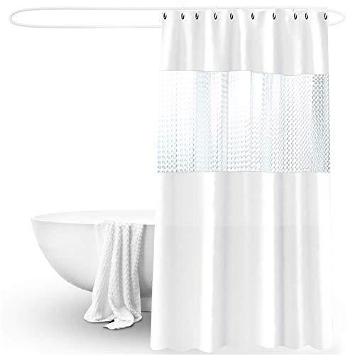 X-Labor Weiß Duschvorhang 240x200cm Halb-Transparent Wasserdicht PVC Antibakteriell Waschbare Textil Badewannevorhang