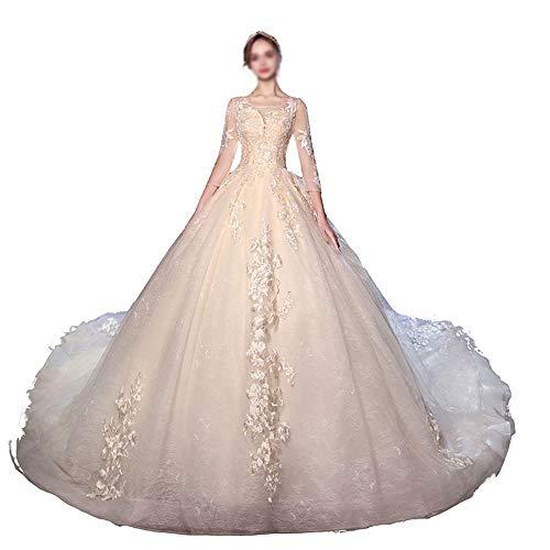 Brautkleid Bride Dreamy Big Schwanz Slim Fit Dreidimensionale Schneiderei Brautkleider Spitze Brautkleid (Farbe : Photo Color, Size : XL)