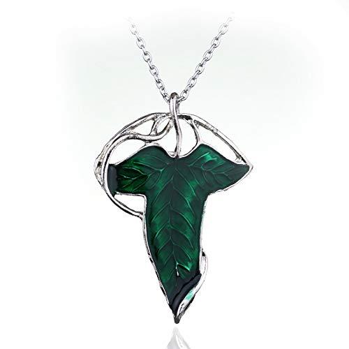 MZYSM Hot Lord of The Elven Leaf Arwen Evenstar Colgante de aleación Elfos Aragorn Hojas Verdes para Hombre y Mujer Joyas de películas