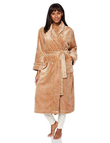 Amazon-Marke: Iris & Lilly Damen Long Plush Dressing Gown, Beige (Mink), XL, Label: XL