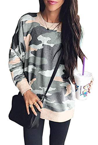 BTFBM Womens Sweatshirts Camo Leopard Print Crew Neck Long Sleeve Camouflage Casual Fit Sweatshirt Pullover Tops Shirts (Pink/Gery Camo, X-Large)