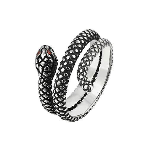 Beglie Ringe für Herren Edelstahlring Größe Herren Ringe Kleiner Finger Schlange Verlobungsring Biker Ring Retro Siegelring Biker Ringe Gravur Silber Schwarz 62 (19.7)