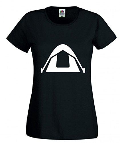 Druckerlebnis24 Camiseta de Campamento, Camping, Otros Objetos, PAVILLON, Tienda de campaña para Hombre, Mujer, niños, 104-5XL Negro Talla del Hombre: XXX-Large