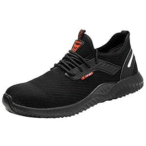 YWLINK Calzados Casuales De Hombres Y Mujeres Que Vuelan Zapatos De Seguridad Laboral Antibalas Baotou Punta De Acero Puntera Trabajo Senderismo Transpirable Zapatos De Entrenamiento(Negro,37EU)
