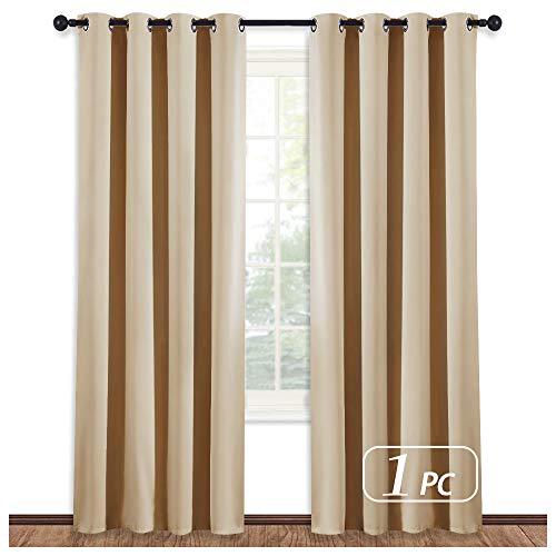 NICETOWN Room Darkening Biscotti Beige Curtain - Modern Design Light Reducing & Privacy Protection Short Window Drape/Drapery for Kid