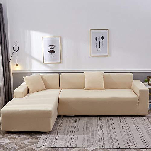 Copridivano Altamente Elasticizzato Coprisofà,Fodera per divano ad angolo componibile a forma di L(Ne servono due), copridivano per poltrona di protezione mobili soggiorno-Beige_3 posti 190-230 cm