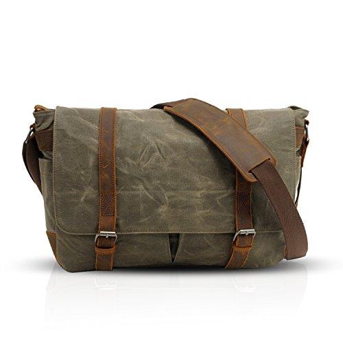 FANDARE Retro Messenger Bag Umhängetasche Schultertasche 14 Laptoprucksäcke Tasche Kuriertasche Multifunktion Canvas Grün
