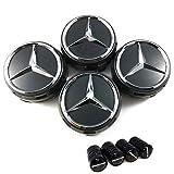 4 tapones para llantas de aleación de 75 mm con logotipo de Mercedes negro elevado, AMG Clase A B C E CLA CLK M ML S 4Matic