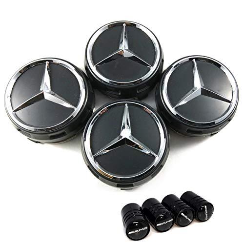 x4 Tappi Coprimozzo 75mm Logo Mercedes Nero Rialzato AMG Classe A B C E CLA CLK M ML S 4Matic - Borchie Cerchi Lega