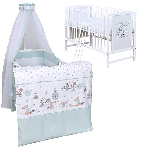Baby Delux Babybett Komplett Set Kinderbett Mia weiß 120x60 Bettset Matratze in vielen Designs (Waldtiere Mint)