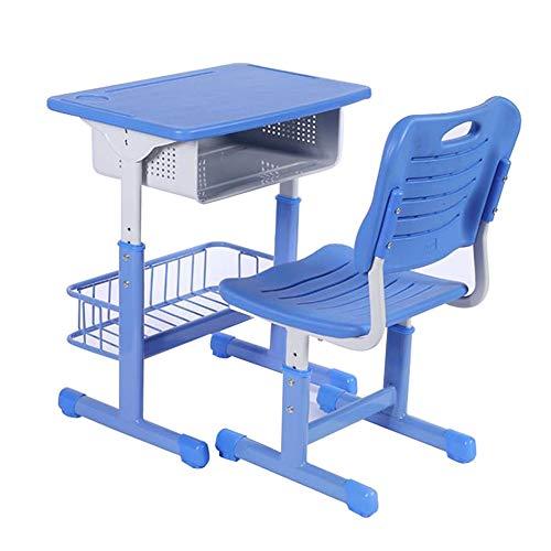 Wlehome Kinder Schreibtisch- Und Stuhlset, Ergonomische, Höhenverstellbare Hubtische Und Stühle Schubladenablage Für Schulkinder-Schreibtisch, Heimstudium,Blau