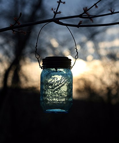 Hanging Blue Mason Jar Solar Powered Lantern, Solar Light, Mason Jar Light, Rustic Outdoor Lighting