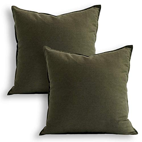 """18""""x18"""" Solid Cotton Linen Decoration Green Throw Pillow Case with Zipper Euro Sham Cushion Case Cool Pillow Cover Delicate Decorative Pillowcase for Chair/Bed/Couch, (45 x 45cm),2 Packs, Olive Green"""