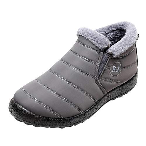 Herren Schneestiefel Flach Schneeschuhe Winter Ankle Boots Warmhalten Schlupfstiefel Plus Samtstiefel Plus Samt Warme Kurze Stiefel, Grau, 43 EU