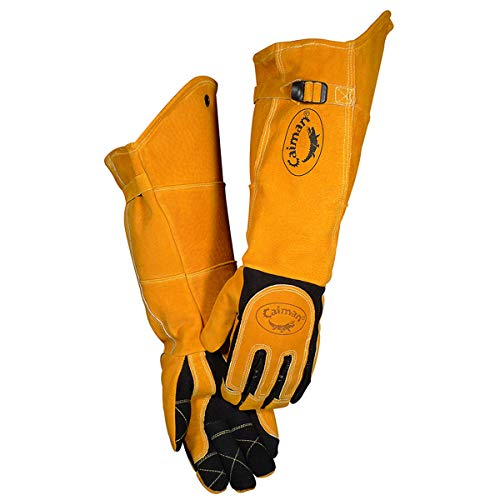 Caiman 1878-5 21-Inch One Size Fits All Genuine American Deerskin Welding Glove with Boarhide Leather...