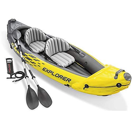 WUBAILI Gommone, Set di Kayak Gonfiabile per 2 Persone con Remi in Alluminio E Pompa Ad Aria Ad Alto Rendimento,312×91×51CM