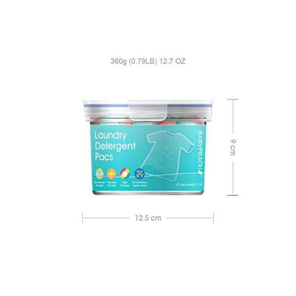 BABYPEACH 3en1 Detergente en Cápsulas para Lavadora, Protección del Color y Suavizante (21 Lavados)