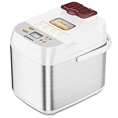 Bread Machine with Dispenser, MOOSOO 19-in-1 Stainless Steel Bread Maker, Nonstick Ceramic Pot, Time Delay and Keep Warm, Portable Handle, 7 Accessories and Recipe, 1.5LB Capacity