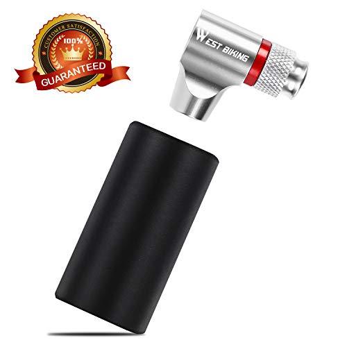WESTGIRL CO2 Inflator Fahrradpumpe, Fahrrad Reifenpumpe kompatibel mit Presta und Schrader Ventile, Mini Kartuschenpumpe mit isolierter Hülse für Rennrad Mountainbike, Keine CO2-Kartuschen enthalten