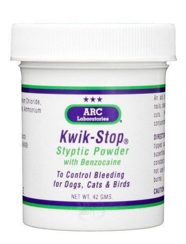 ARC Laboratories Kwik-Stop Styptic Powder With Benzocaine for Dogs, Cats, and Birds, 42 g.