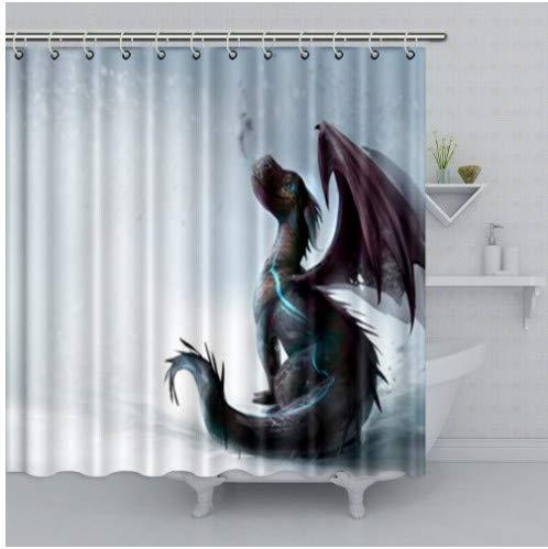 fptcustom Drache-Illustrations-Dekor-Duschvorhang umweltfre&lich wasserdicht für Badezimmer mit Haken 180X200Cm