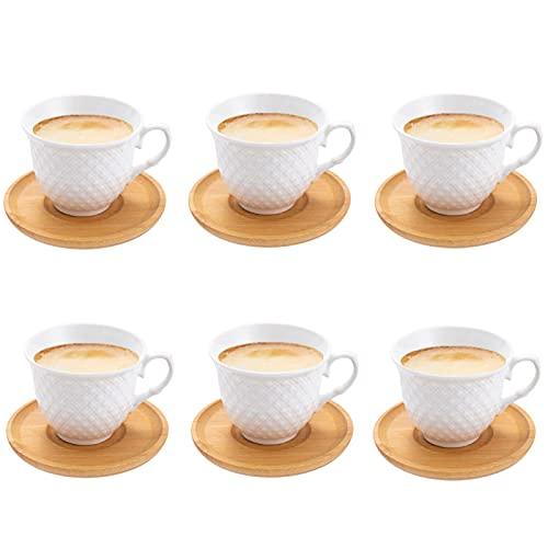 Espressotassen 6er Set Porzellan Kaffeetassen mit Bambus Untersetzer (6 Tassen / 6 Untertassen) Espresso Mocca Türkische Kaffeetassen 80ml Kaffeeservice Teeservice Set, weiß