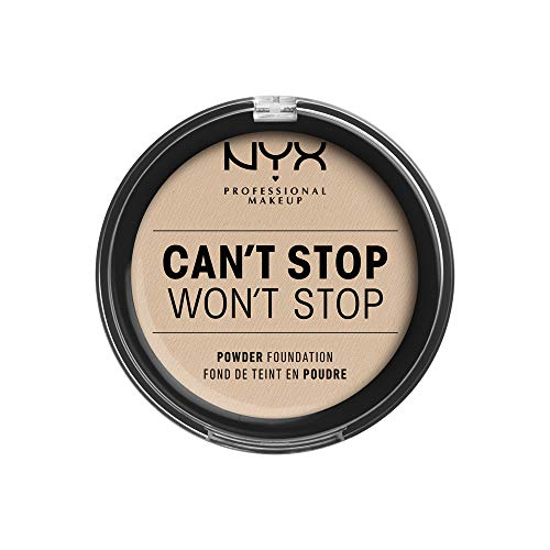 NYX Professional Makeup Can't Stop Won't Stop Full Coverage Powder Foundation, Mattes Finish, Glanzkontrolle, Langanhaltend, Vegane Formel, Farbton:Alabaster
