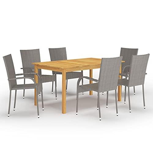 vidaXL Gartenmöbel Set 7-TLG. Sitzgruppe Sitzgarnitur Gartengarnitur Esstisch Tisch Stühle Gartentisch Gartenstuhl Sessel Gartenset Grau