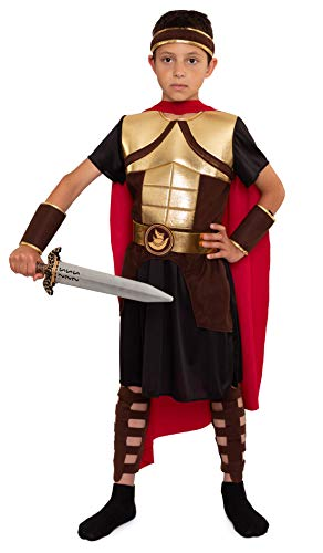 Magicoo Gladiator Ritter Kostüm Kinder Jungen Gr. 104 bis 146 braun/rot/Gold - Römer Kostüm Kind Fasching (122/128)