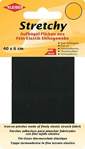 Kleiber + Co.GmbH Stretchy Aufbügel-Flicken, 100% Polyester, schwarz, 40 x 6 x 0,05 cm