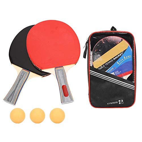 Learn More About Alomejor Table Tennis Set with 2pcs Double Face Pimples in Long Short Handle Ping Pong Paddle Racket Set with Bag 3 Balls