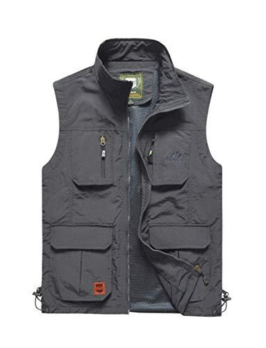 Haellun Men's Work Multi-Pockets Lightweight Outdoor Travel Fishing Photo Vest (Large, Gray)