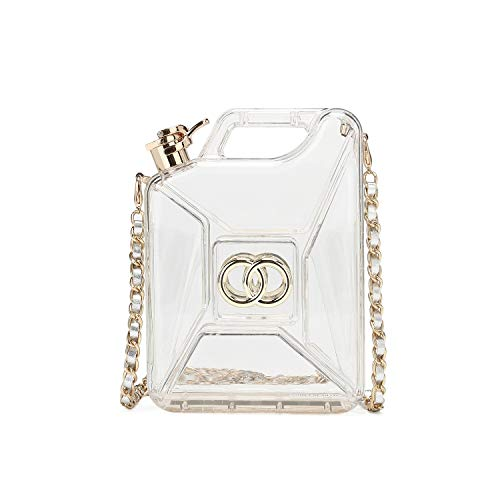 Hearty Trendy Fashion Gas Can Acrylic Evening Bag Clutch Bag Shoulder Bag -Clear