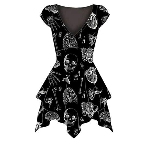 Damen Halloween-Kleid, schulterfrei, glänzend, langärmlig, gruseliges Horror-Skelett-Print, Cosplay-Kostüm Gr. XXXXL, Black-C