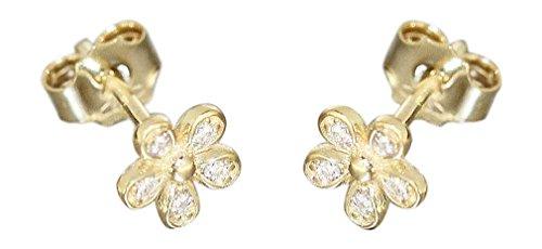 Hobra-Gold Kinder Ohrstecker Blumen Gold 585 Ohrringe kleine Blume m Zirkonias Gelbgold 14K