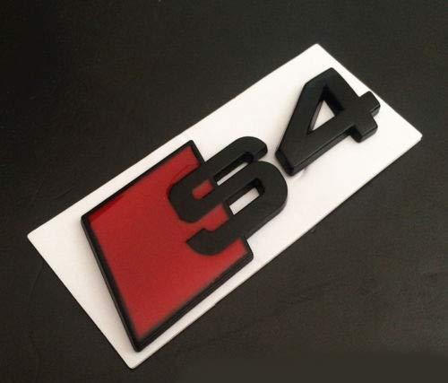 Negro Mate Y Rojo 80mm x 30mm Metal Trasero Boot Lid
