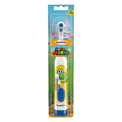 Arm & Hammer Super Mario Kids Spinbrush Soft Electric Battery Toothbrush, Multi-color