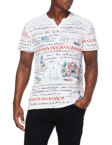 Desigual TS_Cayo Camiseta, Blanco, XL para Hombre