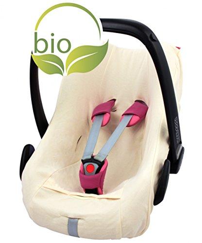 ByBoom - Sommerbezug, Schonbezug für Babyschale aus 100% BIO-Baumwolle, Universal für z.B. Maxi-Cosi, CabrioFix, Pebble, City SPS, Farbe:Beige