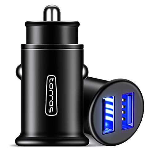 TORRAS All Metal Car Charger, Flush Fit 4.8A Fast Dual USB Car Charger Adapter Compatible with iPhone Xs/Xs Max/XR/X / 8/7 / Plus / 6, Galaxy S10 / S9 / S8 and All 5V USB Devices, Black