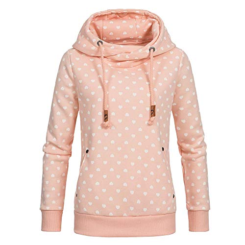 Newbestyle Pullover Damen Hoodie Oberteile Pulli Oversize Sweatshirt Kapuzenpullover Print Rundhals Sweatjacke Rosa XL